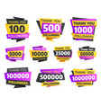 labels or stickers for followers milestone set vector image
