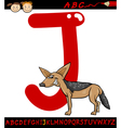 letter j for jackal cartoon vector image vector image