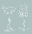 lighthouse ship sailboat sketch set vector image vector image