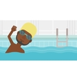 Man swimming in pool vector image vector image