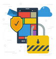 mobile data protection and encryption vector image