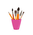 pencils brushes in jar colorful vector image vector image