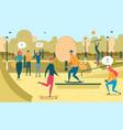 people recreation in urban park flat vector image vector image