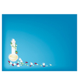 Perfume and Soft Prepared Chalk on Blue Background vector image