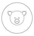 pig head icon black color in circle vector image