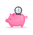 pink piggy bank and clock saving and investing vector image