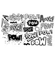 pow retro collection hand drawn quote vector image