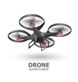 Realistic remote air drone quadrocopter flying on vector image