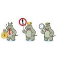 Rhino Mascot with money vector image