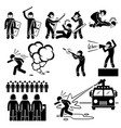 riot police stick figure pictograph icons a set vector image