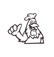rooster mascot logo outline version chicken logo vector image