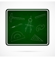 School Elements on Green Chalkboard vector image