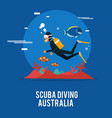 scuba diving extream activity in australia design vector image