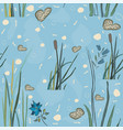 seamless repeating pattern with lake reed hand vector image