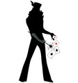 silhouette magician wearing top hat holding a vector image vector image