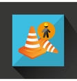 silhouette man and cone warning icon design vector image vector image