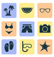 summer icons set collection of bikini trees vector image vector image