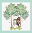 woman and man wedding with party flags and trees vector image vector image