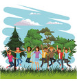 young people happy and jumping vector image