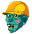 zombie head with helmet vector image vector image