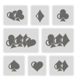 monochrome icons with suits of playing card vector image
