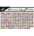 set 207 country flags suitcases vector image