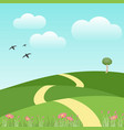 abstract park view with birds and sky in spring vector image