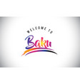 baku welcome to message in purple vibrant modern vector image
