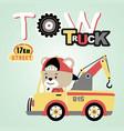 bear drive tow truck cartoon vector image vector image