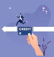big hand with credit card helping entrepreneur vector image vector image