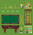 billiards flat set vector image vector image