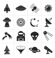 Black astronautics space and universe icons vector image