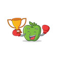 boxing winner green apple character cartoon vector image vector image