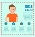 boy in orange t-shirt infographic card vector image vector image