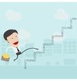 businessman in white shirt walks up ladder vector image