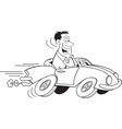Cartoon man driving a car vector image