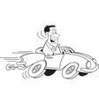 Cartoon man driving a car vector image vector image