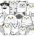 cat line ink seamless pattern vector image vector image