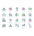 charity social worker line icons vector image
