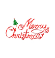 Christmas greetings red ribbon 3d lettering with C vector image vector image