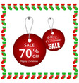 christmas sale tags with frame vector image vector image
