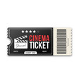 cinema ticket on white background movie ticket vector image vector image
