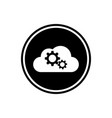 cloud with gears round flat icon vector image vector image