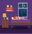 colorful scene girl sleep with mask and in bedroom vector image