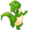 cute cartoon crocodile isolated on white backgroun vector image