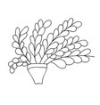 cute cartoon plant in simple pot long branches vector image vector image