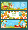 easter egg and rabbit cartoon banner set design vector image vector image