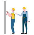 engineer team working man with hammer and nails vector image