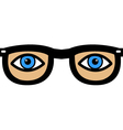 eyes in glasses vector image vector image