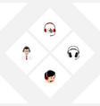 flat icon hotline set of help operator headphone